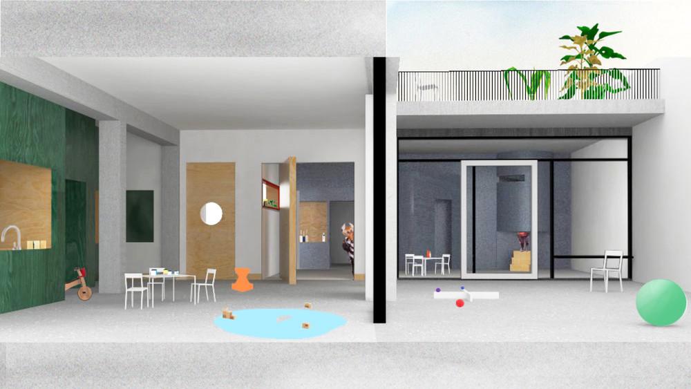Projet lauréat - Vue  intérieure sur deux sections © Dars/Dubois