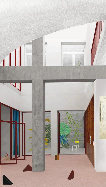 Projet lauréat - Vue intérieure sur le hall d'accueil © Dars/Dubois