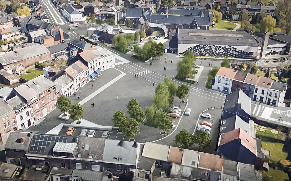Écoutez le guide Namur & Luxembourg, le BHNS de Charleroi et Brumarg à Bruxelles © Charleroi Bouwmeester / Mont-sur-Marchienne, places des Essarts et Communale, en-cours
