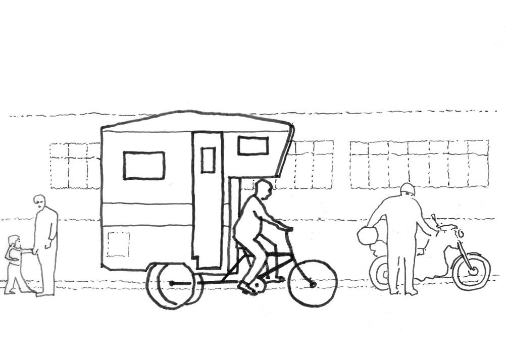 PROLONGATION JUSQU'AU 18 MARS - Inventaires #3 : déposez vos projets © Gilles Debrun, dessin inspiré du camper bike de Kevin Cyr, 2019