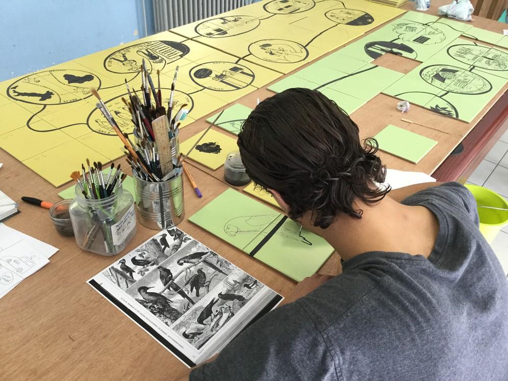 Intervention artistique à l'IPPJ : phase 1 © Association Inscrire Françoise Schein / IOA à l'IPPJ de Fraipont en cours de fabrication