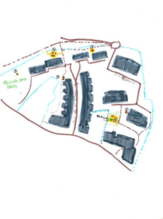 Le chemin de cailloux, plan d'implantation